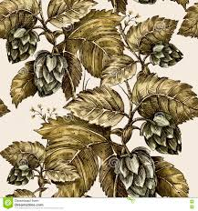 climbing plant ivy hop seamless floral pattern handmade