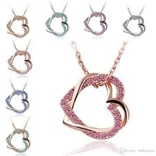 heart necklace gold plated images Wholesale double crystal heart necklace silver gold plated chain jpg