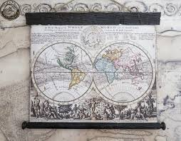 New World Order Map by Pull Down Map Old World Map 1700 Canvas U0026 Antique Wooden