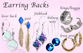 types of earring backs for pierced ears 52 types of earring styles closure illustrations vector