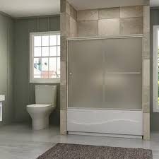 Bathroom Tub Shower Doors Semi Frameless Bypass Frosted Glass Bath Tub Shower Door Brushed