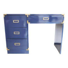Blue Computer Desk Gently Used Vintage Caign Furniture For Sale At Chairish