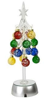 silver tree clear acrylic light up w ornaments silver