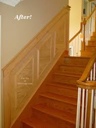 Cost Of Wainscoting Panels - before u0026 after oak wainscoting on stairs the joy of moldings com