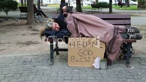 homeless woman resting on a park bench royalty free video and