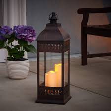 Outdoor Candle Lighting by San Nicola Triple Led Candle Lantern Antique Bronze Smart Living