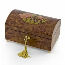 jewelry box 20 handcrafted 36 note wood tone floral inlay treasure chest musical