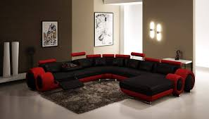 furniture modern sectional couches i black and red theme on white