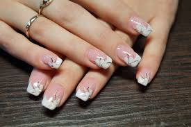 french manicure with flowers the best images bestartnails com