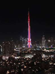 Burj Khalifa The Burj Khalifa In Dubai Lit Up With The Flag Of The United