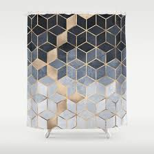 soft blue gradient cubes shower curtain by elisabeth fredriksson