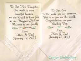 wedding gift from parents embroidered wedding handkerchiefs wedding gift and