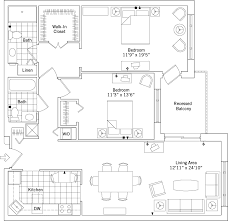 two bedroom two bath apartment floor plans deluxe two bedroom two bath with recessed balcony erickson living
