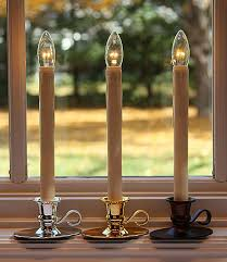 traditional flamelss window candle bright dual sided bulb bronze