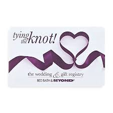 gift card registry wedding tying the knot ribbon heart gift card bed bath beyond