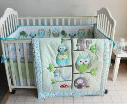 Nursery Bedding Sets For Boys Happy Owls And Friends Three Animals Embroidered Baby Cot Crib