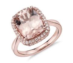 gold and morganite ring robert leser morganite and diamond halo ring in 14k gold