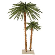 6 ft palm tree set pre lit