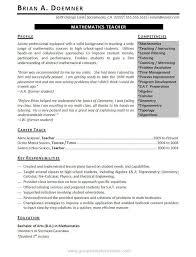 Math Teacher Sample Resume by Math Teacher Resume Examples Of Teachers Resumes Teaching Resume