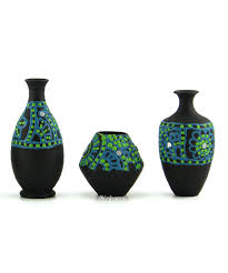 Home Decor Showpieces Ekolhapuri Handmade 3d Work Mini Three Show Piece Terracotta Pot