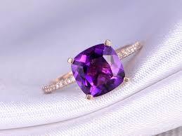 amethyst stone rings images Myray 14k rose gold 8x8mm cushion natural purple amethyst crystal jpg