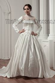 Chapel Train Wedding Dresses Classic Long Sleeve A Line Chapel Train Wedding Dresses