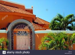 spanish homes homes with typical mexican spanish design in mazatlan mexico stock
