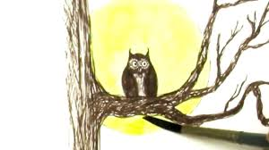 pen and ink no pencil drawing tutorial spooky tree owl and