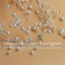 round artificial pearl wholesale crystal beaded garland on silver