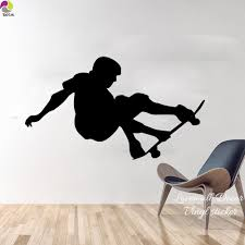 compare prices on easy wall mural online shopping buy low price 97cmx56cm skateboard wall sticker bedroom boy room skater skating sport wall decal cut vinyl home decor