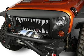 monster jeep jk grille insert monster teeth 07 17 jeep wrangler jk by rugged ridge