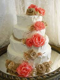 burlap cake toppers coral seashell burlap cake topper flowers with twine