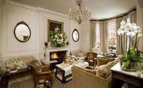 english country style interior design living room with fireplace