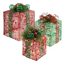 outdoor lighted gift boxes diy piece glittery red green gold gift box lighted christmas yard