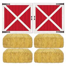 Red Barn Doors by Barn Loft Door And Hay Bale Props Add Ons Birthdayexpress Com