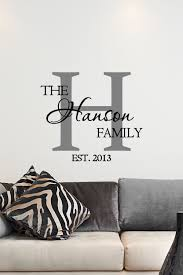 Personalized Wall Decor Custom Family Name U0026 Monogram Vinyl Decal Monogram Vinyl Wall