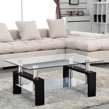 uenjoy glass coffee table rectangular black legs in oak amazon co