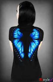 v neck t shirt blue butterfly wings on the back clothes t