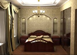 Chandelier Mural Bedroom With Classic Design Ideas Come With Brown Wood Bed With