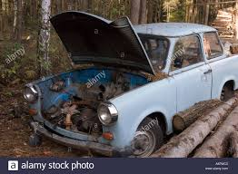 trabant old destroyed trabant car in polish forest stock photo royalty