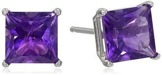 amethyst stud earrings 10k white gold princess cut amethyst stud earrings
