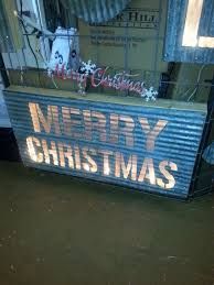 lighted merry christmas yard sign corrugated metal merry christmas lighted box corrugated metal