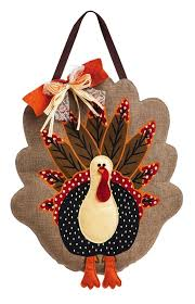 evergreen adorned turkey burlap door decor home kitchen