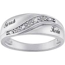 men s wedding band personalized sterling silver mens diamond accent name wedding band