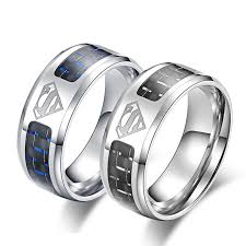 superman wedding band black and blue carbon fiber wedding bands superman ring titanium