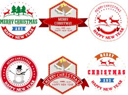merry christmas labels with badge vector vector christmas
