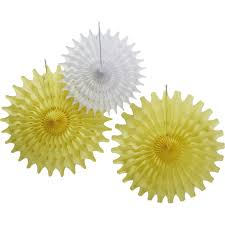 yellow and white tissue paper fan decorations 3 pack hobbycraft
