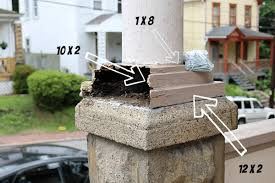 make porch column bases from pressure treated lumber save money
