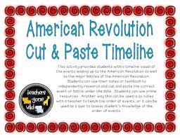 american revolution timeline cut u0026 paste activity by teachers