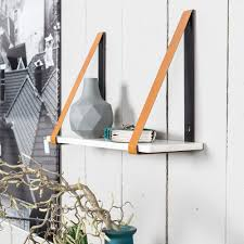 Furniture Wall Straps Marble Wall Shelf In White With Leather Straps Storage Cuckooland